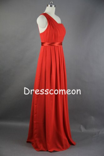 A-line One Shoulder Long Chiffon Bridesmaid Dress 2014(BDMD001)