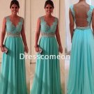 Stunning  A-line Straps Sleeveless Lace and Beading Floor Length Chiffon Prom Dress(PD002))