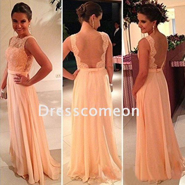 Sexy  Sheath  Bateau Sleeveless  Floor Length Lace  and Chiffon  Prom Dress(PD004)