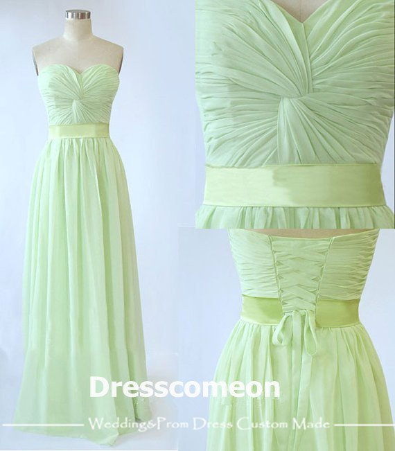 Elegant A-line Floor-length Sweetheart Lace-up Chiffon Bridesmaid Dress(BDMD004)