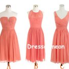 Coral Popular Chiffon Bridesmaid Dress, A-line Short Bridesmaid Dress/Homecoming Dress(BDMD003)