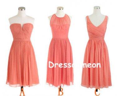 Coral Popular Chiffon Bridesmaid Dress, A-line Short Bridesmaid Dress/Homecoming Dress(BDMD003)
