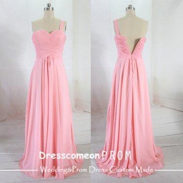 Elegant A-line Floor-length One-shoulder Chiffon Bridesmaid Dress (BDMD005)