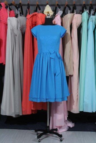 Cobalt Blue ,Cap Sleeves Bridesmaid Dress, Knee Length Bridesmaid Dress With  Button