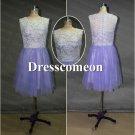 Custom Made Prom Dress, Knee-length Prom Dress, Lace Bridesmaid Dress,Evening Dress