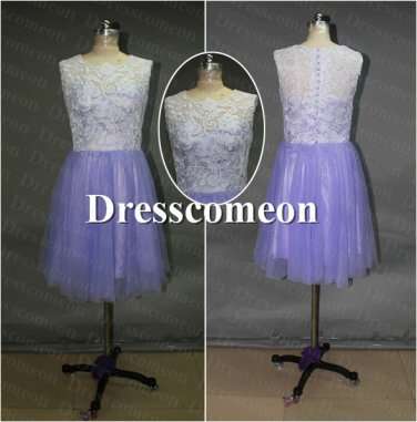 Custom Made Prom Dress, Knee-length Prom Dress, Lace Bridesmaid Dress,Evening Dress