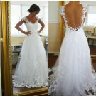 Custom Made Cap Sleeves White Lace Tulle Wedding Dress,A Line Beach Bridal Wedding Gown(PD011)