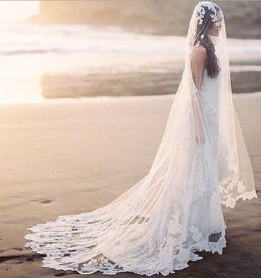Hot Sales One Layer 3 Meters White Cathedral Lace Wedding Veil /Wedding Dress Accessories(VL008)