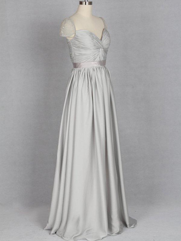 Cap Sleeves Silver Chiffon Long Prom Dress,Cheap Evening Prom Dresses