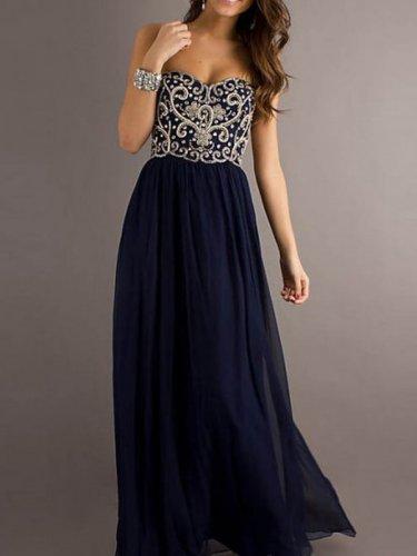 Custom Made Embroidery Prom Dress ,Floor-length Chiffon Prom Dress,Beading Homecoming Dress