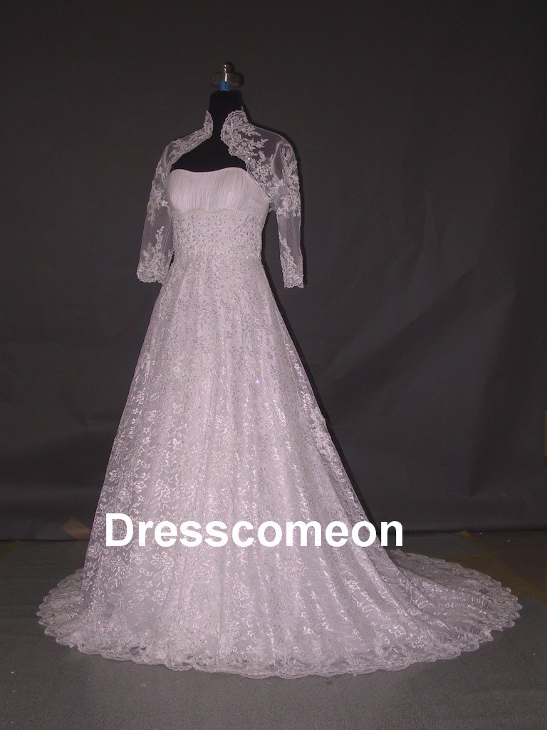 Custom Made  Lace Bridal Dress,A-line Strapless  Floor-length  Wedding Dress/Bridal Gown