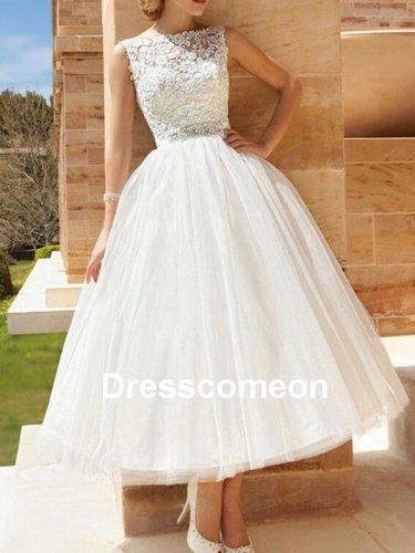 Custom Made Tea Length Lace Wedding Dress,Lace Beach Wedding Gown,Short Wedding Dress
