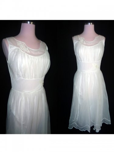 Custom Made Tea-length Scoop Organza Prom Dress, A-line Appliques Summer Wedding Gown