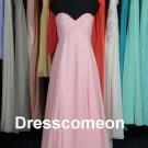 Pink Chiffon Sweetheart Long Bridesmaid Dress, Lovely Bridesmaid Dress,Prom Dress