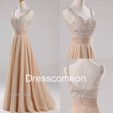 Custom Made A-line  Straps Beading Sweetheart Champagne  Prom Dress,Beading Homecoming Dress