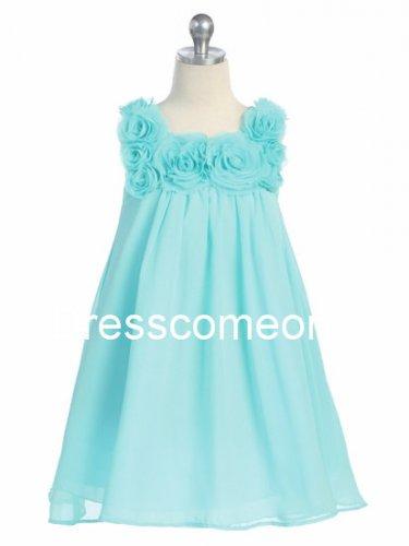 Custom Made Empire Square Neck Knee-Length  Chiffon Flower Girl Dress,Summer Dress