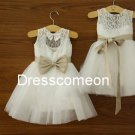 Top Selling Ivory Lace Tulle  Ankle-length Flower Girl Dress Prom Dress with Butterfly Belt