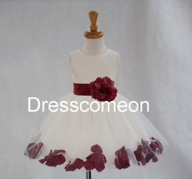 WHITE flower girl dress wedding formal pageant rose petals  tea- Length Flower girl dressess