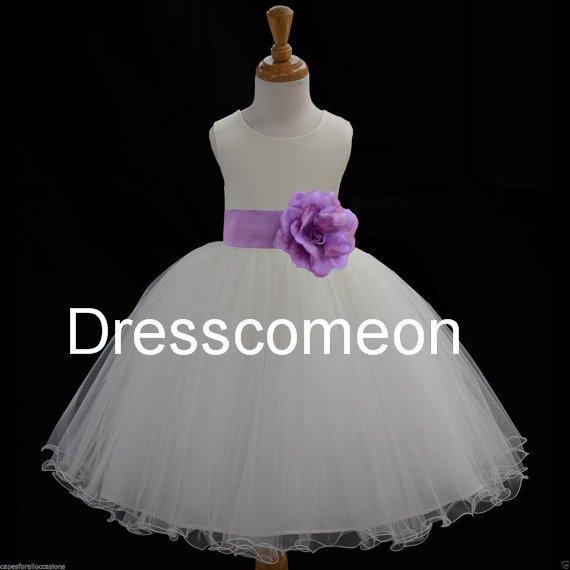 White Organza flower girl dress with sash and flower ,elegant  long girl dresses