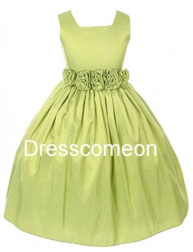 Custom  Empire Square Neck Long Taffeta Flower Girl Dress,Communion Pageant Dress