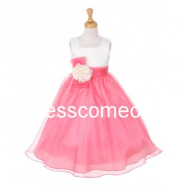 Custom  Made Square Two Colors Flower Girl Dress,Long Organza Communion Pageant Dress