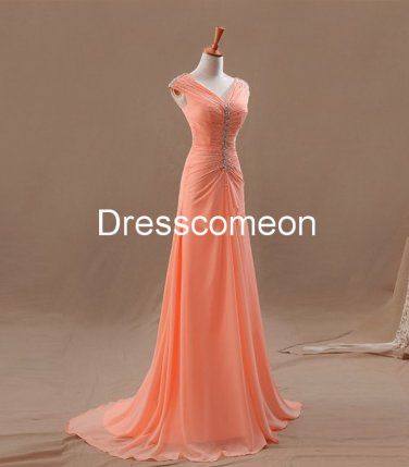 Custom Made A-line  V-neck  Long Prom Dress, Elegant Homecoming Dress