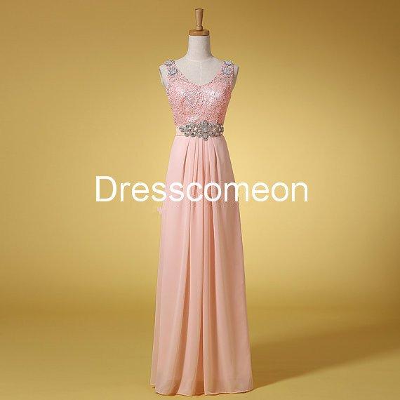 Custom Made A-line  V-neck  Straps Sequin Top Long Homecoming Dress, Beading Belt Prom Dress