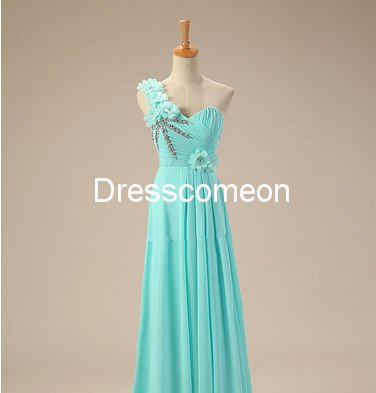 Custom Made A-line  One-shoulder  Flowers Long Homecoming Dress, Beading Prom Dress