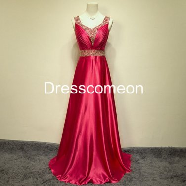 Sexy A-line  Straps  v-back  Red Elastic Satin  Homecoming Dress, Beading Belt Evening  Dress