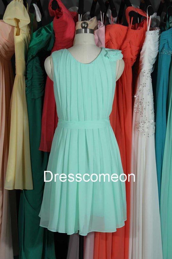 Short Scoop Chiffon Bridesmaid Dress,Short  Summer Dress