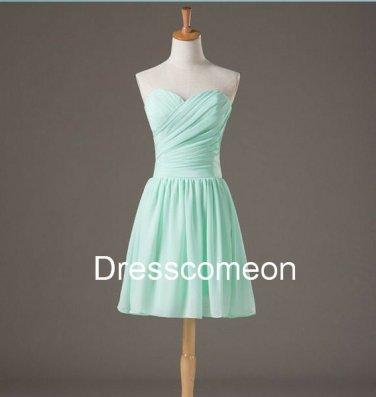 Short  Sweetheart Mint Chiffon Bridesmaid Dress,Short  Summer Dress