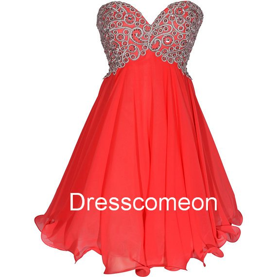Sexy A-line  Empire Sweetheart  Lace-up  Red  Homecoming Dress, Short Embroidery  Evening  Dress