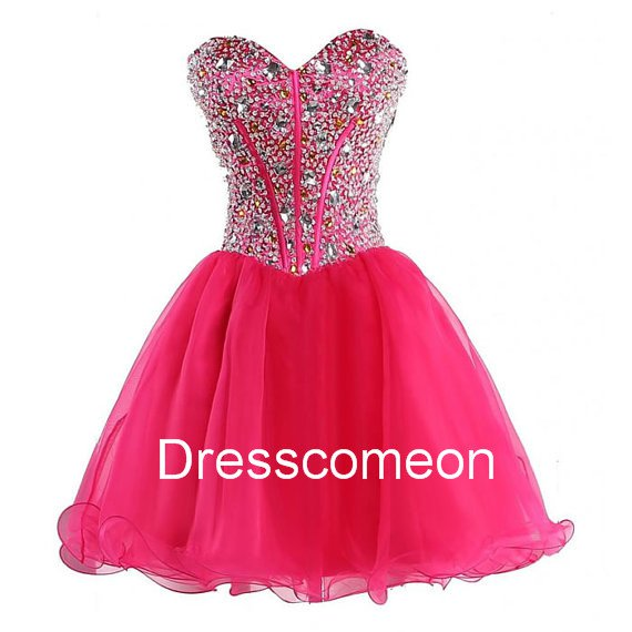 Sexy A-line Sweetheart  Lace-up  Red Organza Homecoming Dress, Short Beading Evening  Dress