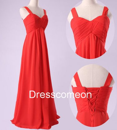 Elegant  A-line Straps  Chiffon Long Homecoming Dress, Long  Bridesmaid Dress