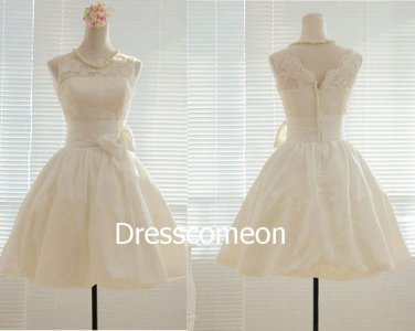 Knee-length Scoop V-back Lace  Summer Bridal Gown, A-line Sleeveless Wedding Dress with Bowknot