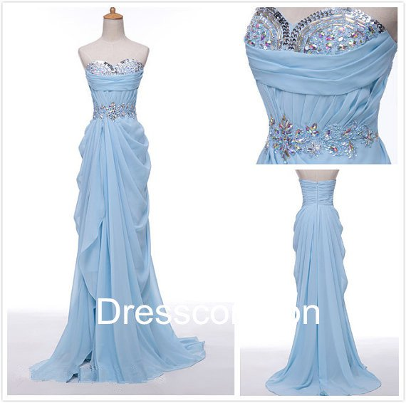 Noble A-line Sweetheart  Beading Chiffon Long Homecoming Dress, Long  Evening  Dress