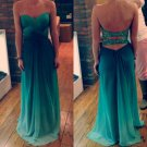 Hot Sales Ombre Green Chiffon Open Back Long Prom Dress,Cheap Bridesmaid Dress