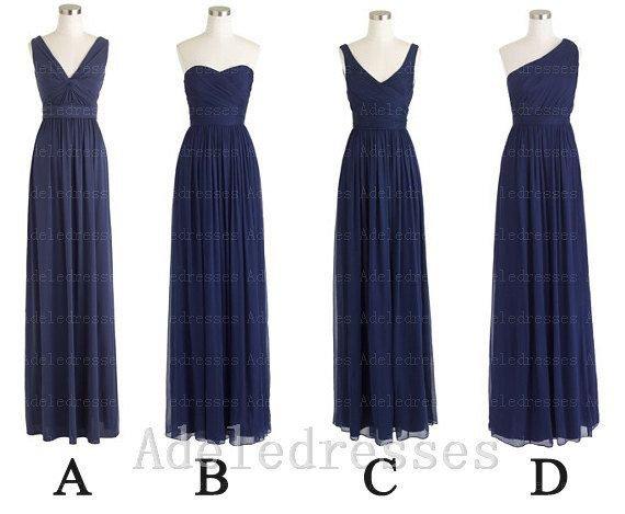 Custom Made Light Blue Bridesmaid Dress,Navy Blue Chiffon Cheap Long Bridesmaid Dress