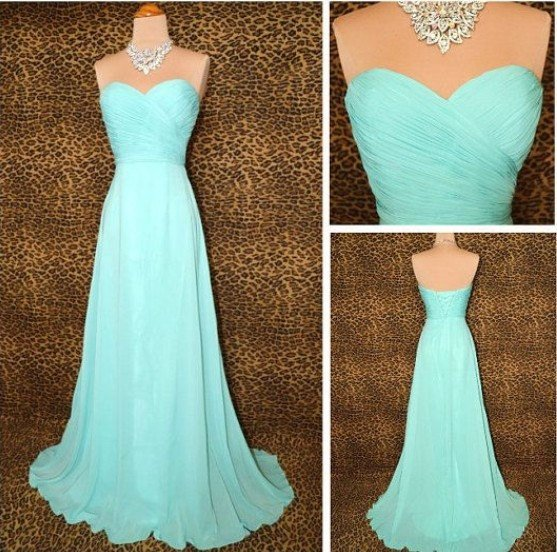 A Line Light Sky Blue Chiffon Long Cheap Custom Made Bridesmaid Dress,Prom Dress