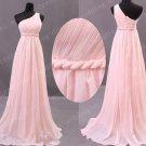 Elegant One Shoulder Pink Chiffon Empire Waist Long Bridesmaid Dress,Prom Dress