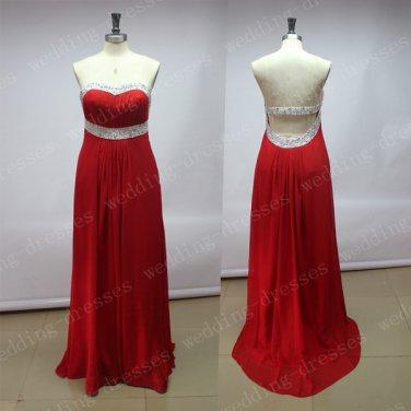 Custom Made Red Chiffon Beaded Long Prom Dress,Empire Waist Open Back Prom Dresses