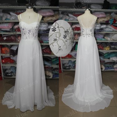 A Line Spaghetti Straps White Chiffon Beaded Cheap Beach Wedding Dress,Long Prom Dress