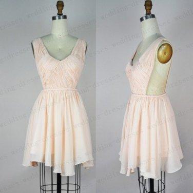 Open Back Short Prom Dress,Pink Chiffon Cocktail Dress,High Low Graduation Dress,Bridesmaid Dress