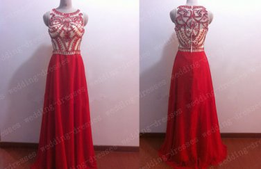 Red Chiffon Beaded Long Prom Dress A Line High Neck See Through Prom Gown Evening,Graduation Dress