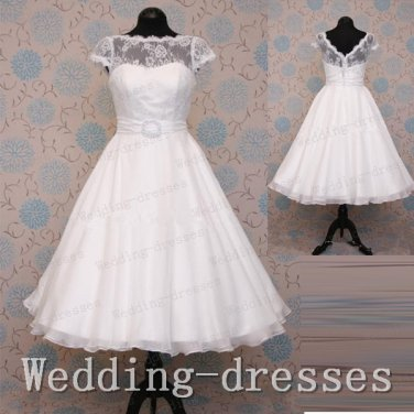 Hot 2015 high neck short sleeves tea length ivory lace short wedding dresses,bridal wedding gown