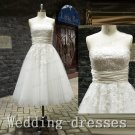 Strapless tea length ivory lace tulle short wedding dresses,cheap wedding gown,bridal dress