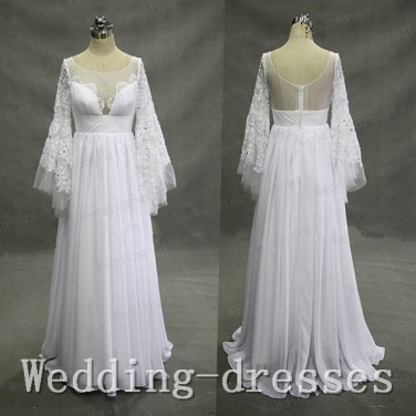 New arrival Long horn sleeves lace chiffon See throgh long wedding dresses,bridal wedding gown,