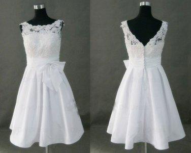 High Neck Princess Lace Bodice Taffeta Skirt Short White Bridal Wedding Gowns,Little White Dresses