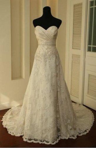 Ruffle Bust Bead Belt Lace Hem Wedding Dresses Crystal Sweetheart Plus size Bridal Wedding Gown