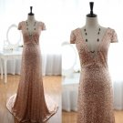 Dazzling Deep V Neck Short Sleeves Gold Sequined Sexy Bridal Wedding Dress Evening Prom Dress